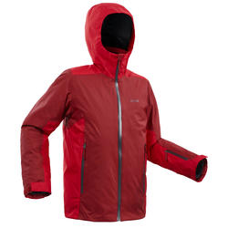 KIDS' SKI JACKET 500 - RED AND BORDEAUX