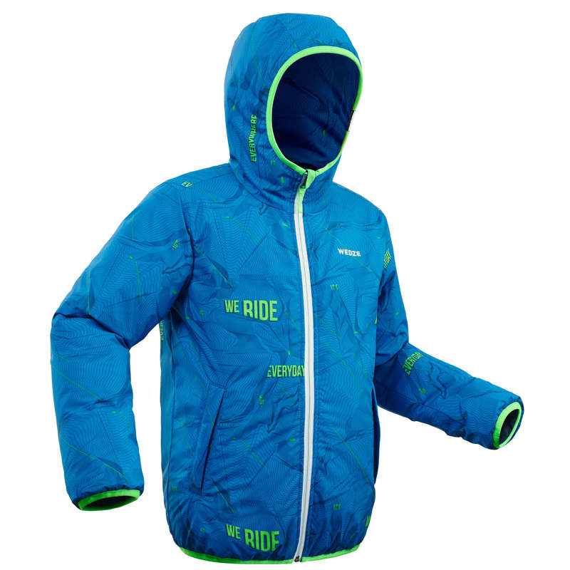 BOY'S JACKETS OR PANTS OCCASIONAL SKIERS Clothing - JR D-SKI JKT W RVS 100 - BLUE WEDZE - Coats and Jackets