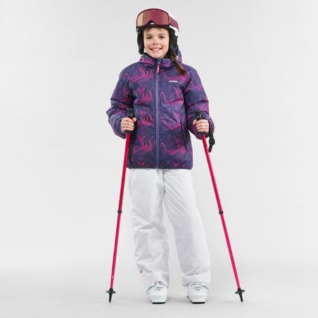 CHILDREN'S SKI JACKET WARM REVERSE 100 - BLUE AND PINK