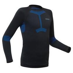 兒童滑雪底層上衣900 - 黑色與藍色