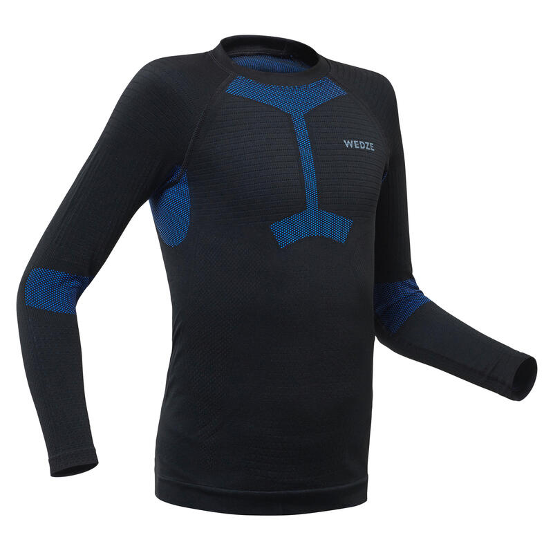 Kinderthermoshirt voor skiën 580 i-Soft zwart/blauw