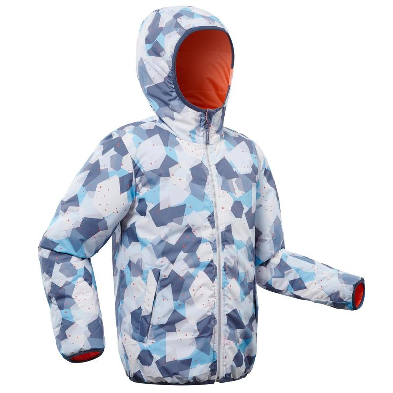 Çocuk Kayak Montu - Mercan Rengi / Mavi - 100 WARM