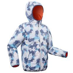 兒童滑雪外套WARM REVERSE 100 - 珊瑚紅色與藍色