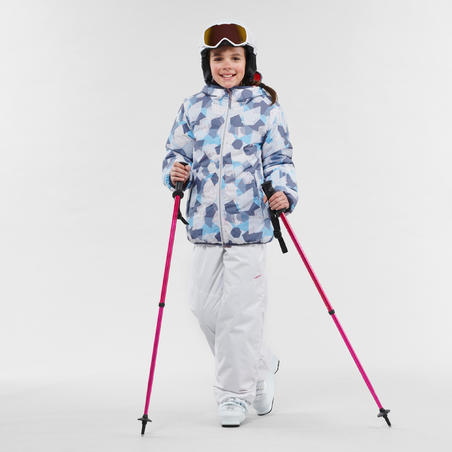 CHILDREN'S SKI JACKET WARM REVERSE 100 - CORAL AND BLUE