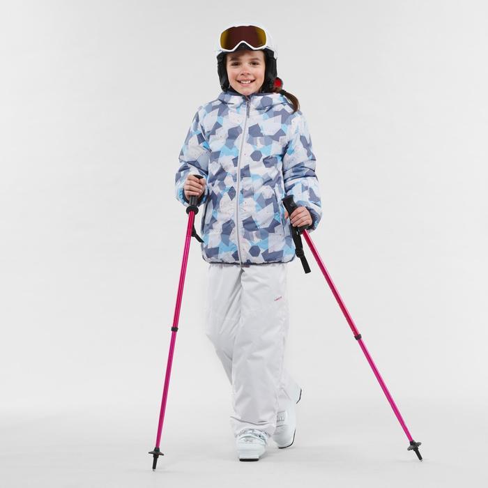 Ski-jas voor kinderen Warm Reverse 100 koraalrood/blauw