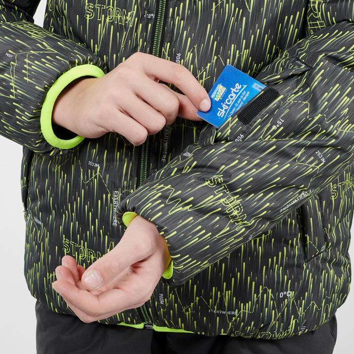 VESTE DE SKI ENFANT WARM REVERSE 100 NOIRE ET JAUNE