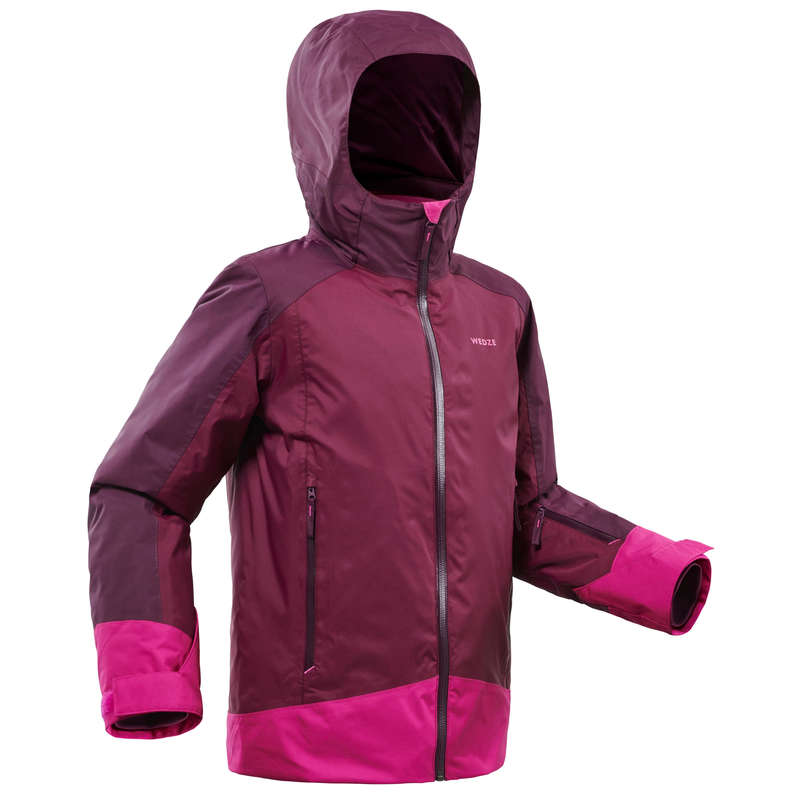 GIRL INTERMEDIATE ON PIST SKIING CLOTHS Clothing - JUNIOR D-SKI JACKET 500 - PLUM WEDZE - Coats and Jackets