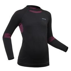 兒童滑雪底層上衣900 - 黑色及粉色