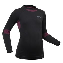 Kids' Ski Base Layer Top 900 I-Soft - Black and Pink