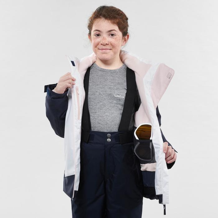 KIDS' SKI JACKET 500 - WHITE AND BLUE