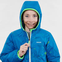 KIDS' SKI JACKET WARM REVERSE 100 - BLUE AND GREEN