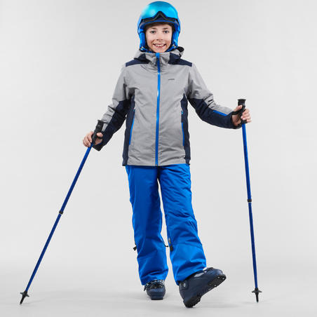 KIDS' WARM AND WATERPROOF SKI TROUSERS PNF 500 BLUE