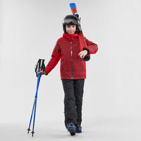 CHILDREN'S SKI JACKET 500 - RED AND MAROON