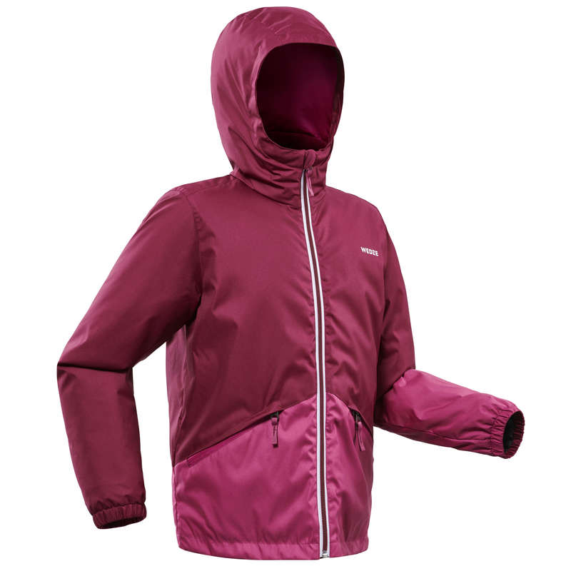 GIRL BEGINNER ON PIST SKIING CLOTHS Clothing - JR D-SKI JACKET 100 - PURPLE WEDZE - Coats and Jackets