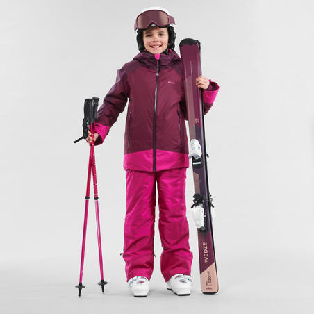 CHILDREN'S SKI JACKET 500 - PLUM