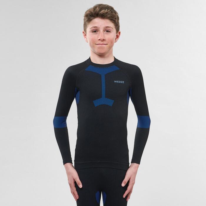 Sous-vêtement de ski enfant Haut 900 I-Soft Noir et bleu