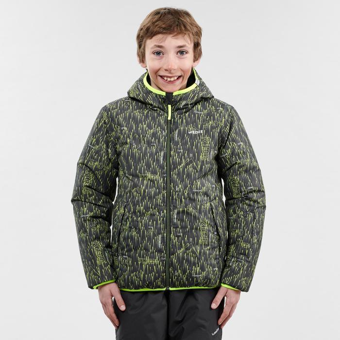 兒童滑雪外套WARM REVERSE 100 - 黑色與黃色