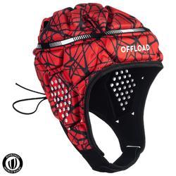 Casco Rugby Offload R500 adulto rojo y negro