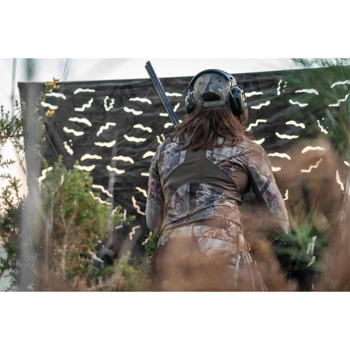 Geluidloos en ademend damesshirt met lange mouwen 500 voor de jacht camouflage