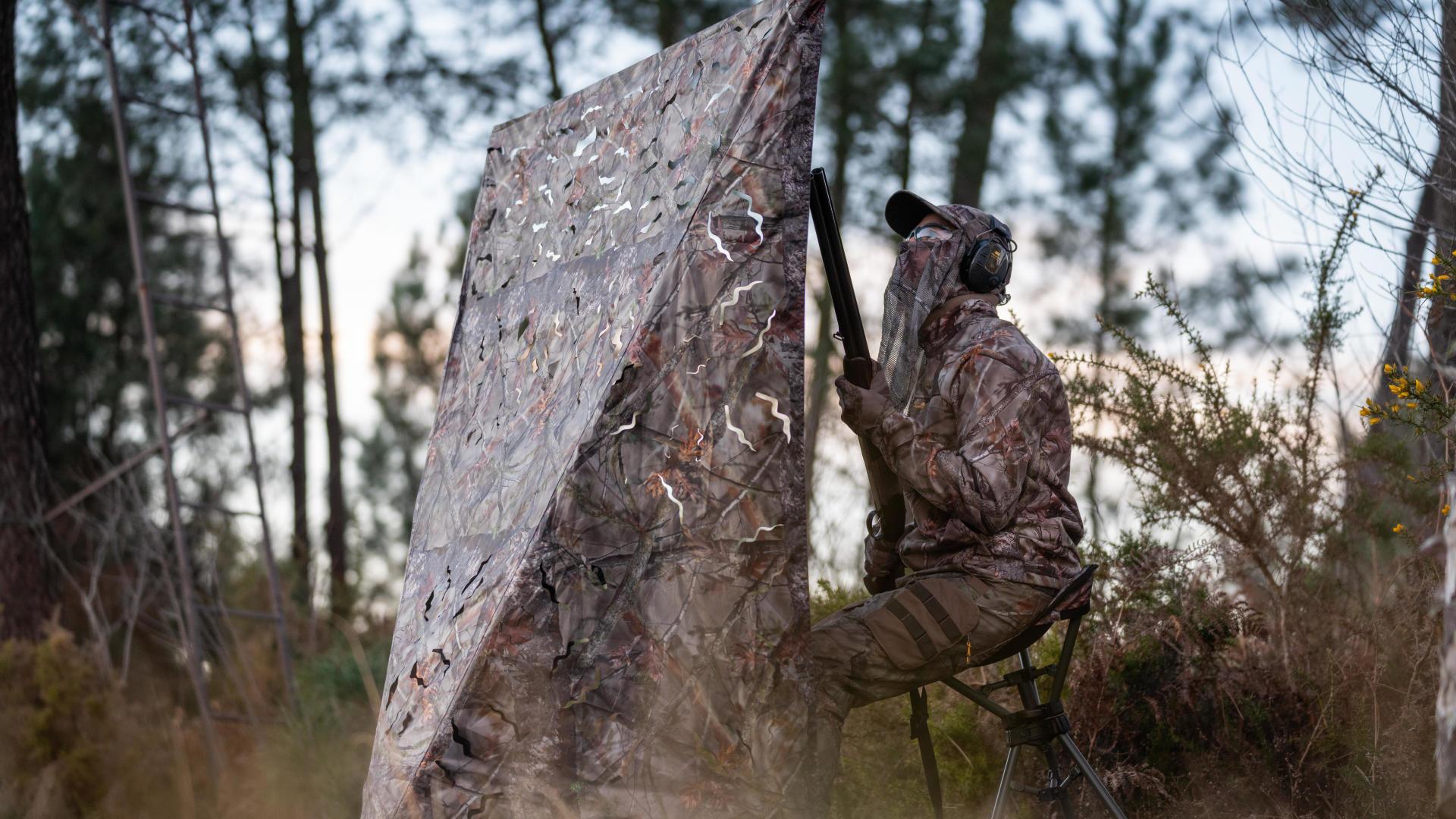 Prêt pour chasser la palombe avec l'affût bouclier de Solognac
