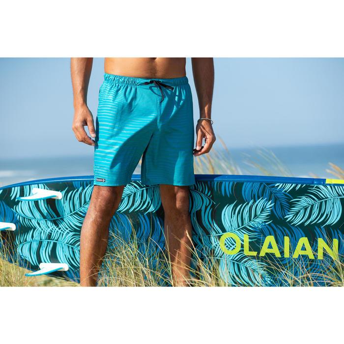 "Bañador Corto Surf Olaian 100 New Waves Hombre Turquesa 18"""