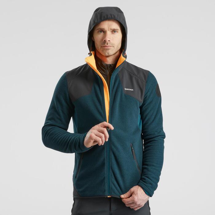 Fleecejacke Stretch Winterwandern SH500 Extra-Warm Herren blau/grau