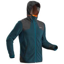 男款超保暖雪地健行刷毛外套SH500-灰藍色