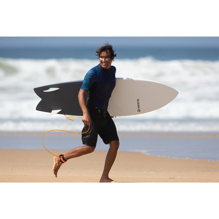 Uv-werende rashguard 500 met korte mouwen voor heren, voor surfen, Cosmos blauw