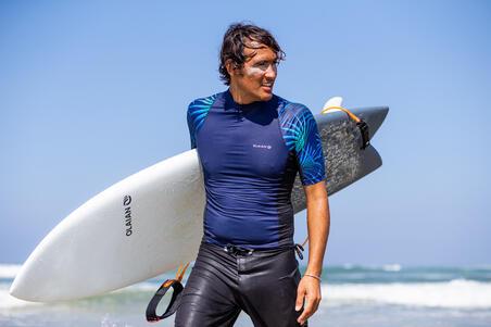 playera Surf Hombre Protección Solar Olaian 500 manga corta azul Cosmos