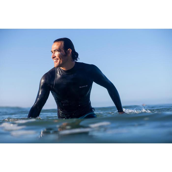 tee shirt anti uv surf top 500 manches longues homme noir gris