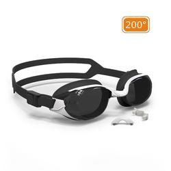 泳鏡B-FIT 500 - 白色/黑色,200度深色鏡片