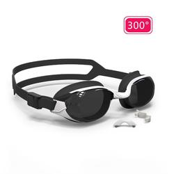 泳鏡B-FIT 500 - 白色/黑色,300度深色鏡片