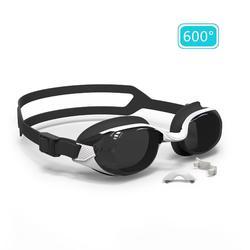 泳鏡B-FIT 500 - 白色/黑色,600度深色鏡片