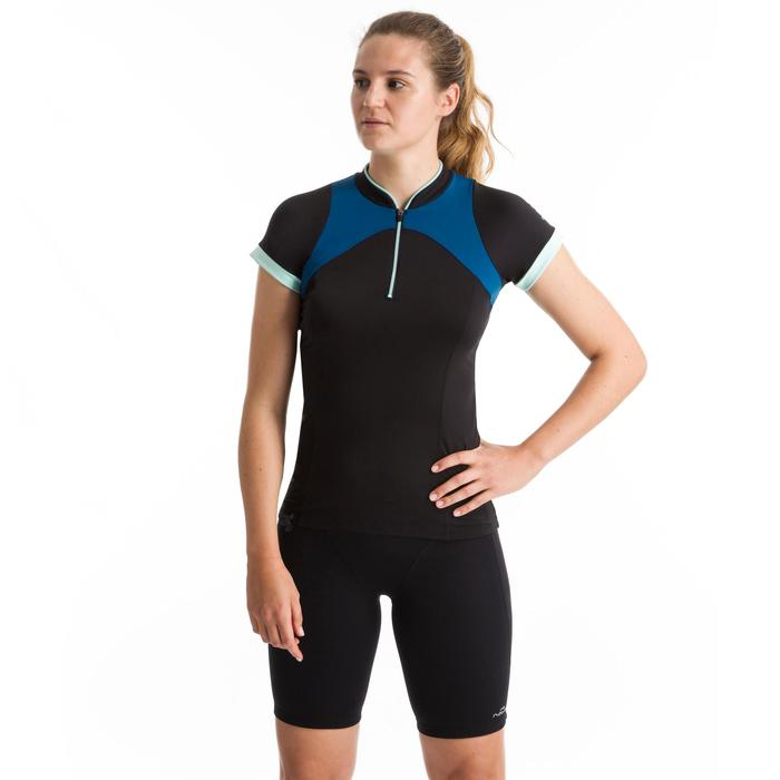 Shirt met korte mouwen voor aquagym en aquafitness dames Zia zwart/blauw