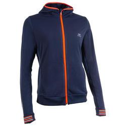 Chaqueta Running Kalenji Warm Jacket Mujer Azul Marino Cremallera Capucha