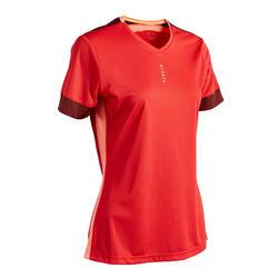 Camiseta de fútbol mujer rojo burdeos