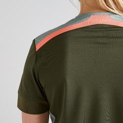 Fußballtrikot F500 Damen grün/koralle