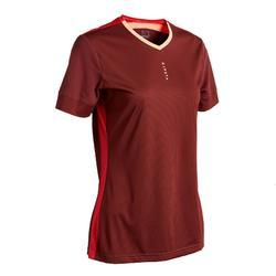Camiseta de fútbol mujer burdeos rojo