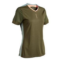 Voetbalshirt voor dames F500 bronsgroen/koraalroze