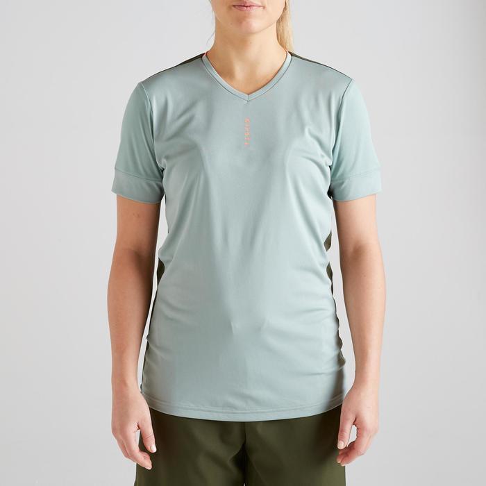 Voetbalshirt dames F500 grijsgroen/koraalroze