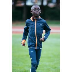 Laufhose Tights lang Leichtathletik AT100 Kinder dunkelgrau