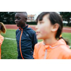 Laufjacke warm Leichtathletik Kinder grau/orangerot