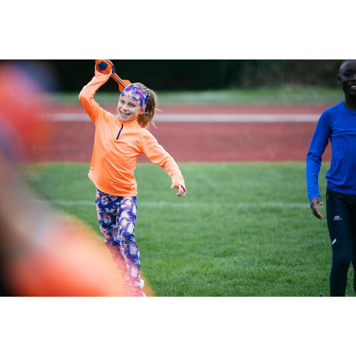 Laufhose Leichtathletik AT100 Kinder violett mit Print