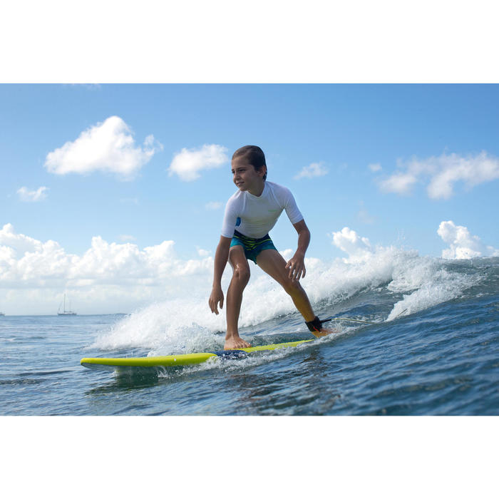 Uv-werende rashguard 500 met korte mouwen voor kinderen, voor surfen, wit