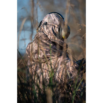 Warme nekwarmer 500 voor de jacht met moerascamouflage