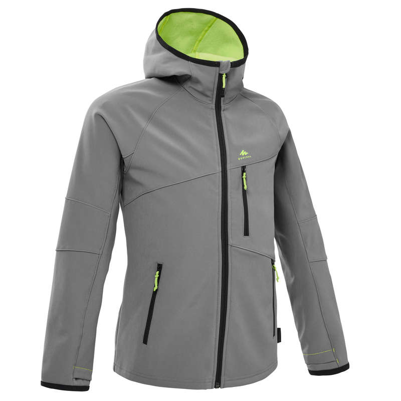 CHILDREN MOUNTAIN HIKING FLEECES, SOFT Hiking - Kids' Soft Jacket MH550 - Grey QUECHUA - Hiking Jackets