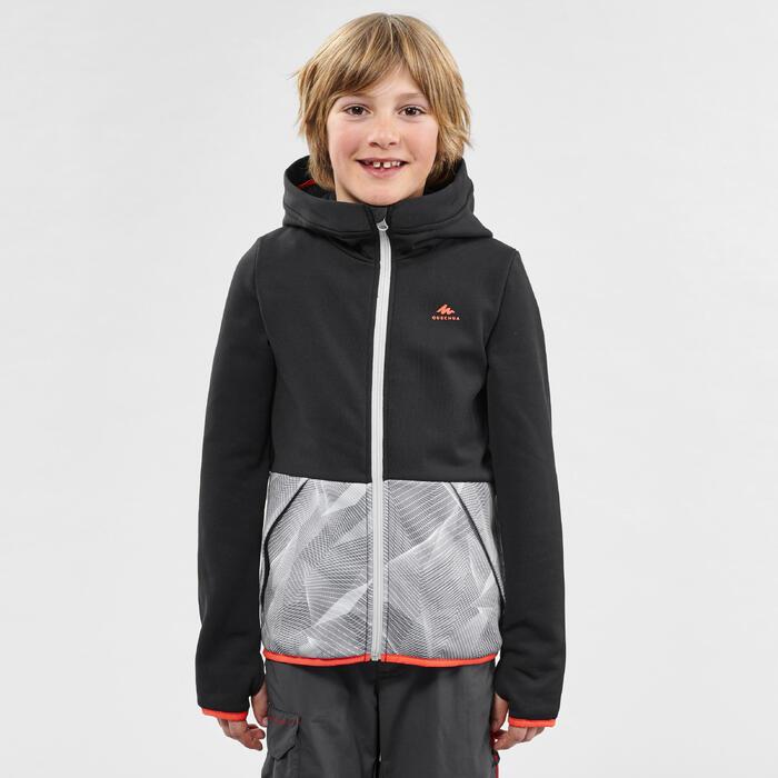 7到15歲兒童款健行刷毛外套MH500-黑色/灰色