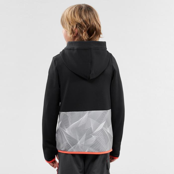 Kids' 7-15 Years Hiking Fleece MH500 - Black Grey