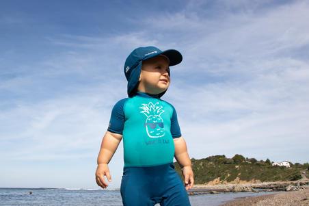 Top Camiseta Protección Solar Playa ANTI-UV Surf Nabaiji Bebé Azul Azul Tur