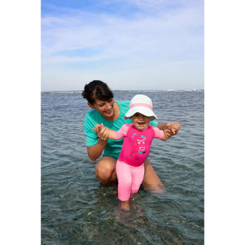 Uv-werend zwemshirt met korte mouwen voor surfen dames turquoise